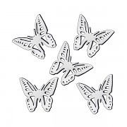 Stříbrné kovové ozdoby na nehty  Sáček po 48 ks - butterfly